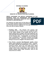 PRESS STATEMENT ON THE MoDP AUDIT REPORT