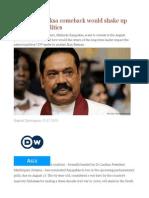How a Rajapaksa Comeback Would Shake Up Sri Lankan Politics