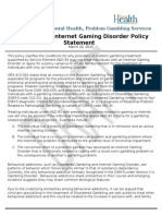 Treatment for Internet Gaming Disorder Policy Statement 3-20-2015