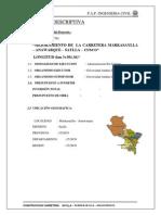 Ejemplo de memoria descriptiva de carretera en zona andina