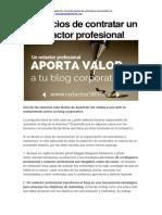 Beneficios de contratar un redactor profesional para tu blog corporativo