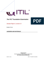 Answer and Rationales Sample Exam 1 Itil Foundation 201312