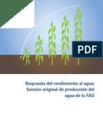 Respuesta del rendimiento al agua función original de producción del agua de la FAO