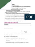 Sales Representative Job Responsibilities
