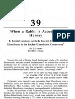When a Rabbi is Accused of r Ezekiel Landau