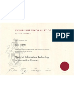 Swinburne University of Technology Testamur