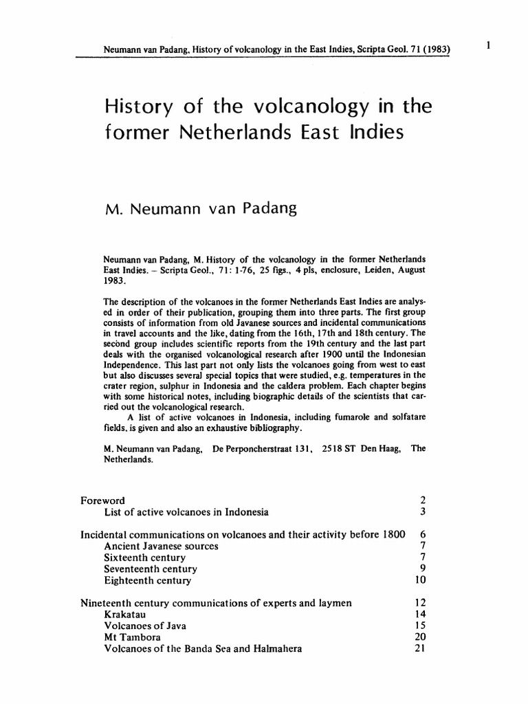 Artº: History of the volcanology in the former Netherlands East ...