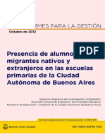 Presencia de Alumnos Migrantes Nativos y Extranjeros en Las Escuelas Primarias de La Ciudad Autónoma de Buenos Aires (2012)