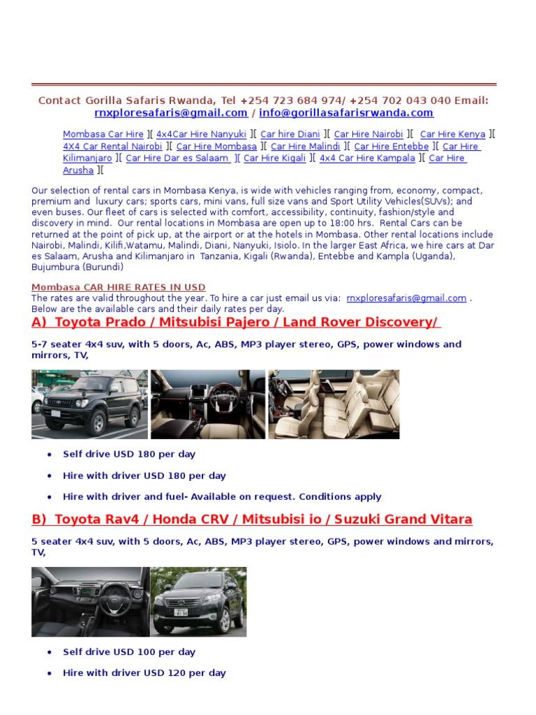 4x4 Mombasa Airport Car Hire Car Rental Sport Utility Vehicle