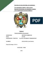 Control Estadístico de Procesos (desviación estándar, varianza , error estándar de estimación y coeficiente de correlación)