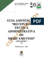 Guía Asistencial Recepción Técnica Administrativa de Medicamentos - V2