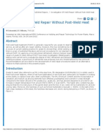 Investigation of Weld Repair Without Post-Weld Heat Treatment for P91