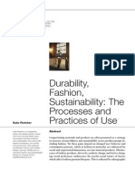 FLETCHER,Kate. Durability, Fashion, Sustainability the Processes Ans Practices of Use, 2014.