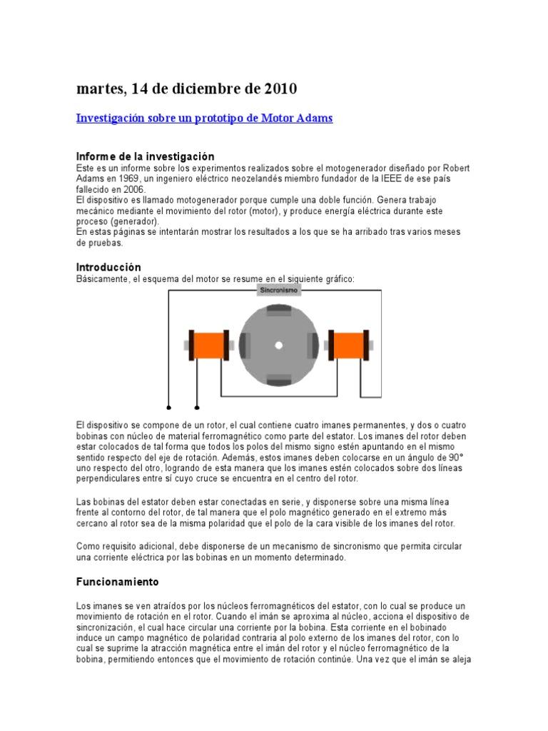 Circuito Motor Bedini : Motor generador de adams