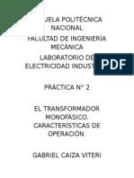 Informe 2 Transformador Monofasico
