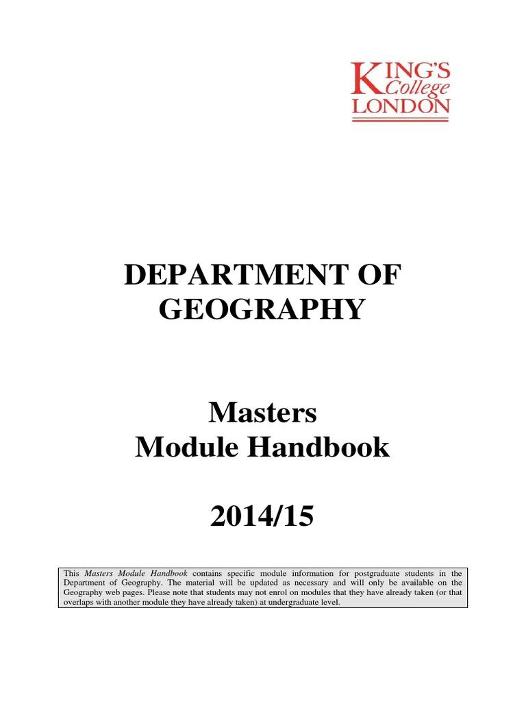 Masters Module Handbook | Geography | Social Sciences