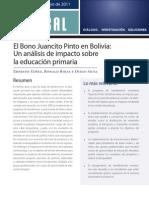 Yanez, Juancito Pinto Conditional Cash Transfer in Bolivia