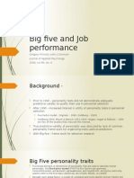 personality and Job Performance - big five - hurtz et al