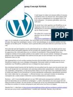 Wordpress Vooruitgang Concept Kritiek