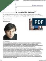 Página_12 __ Economía __ ¿La Vuelta de La Restricción Externa
