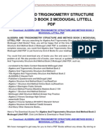 Algebra and Trigonometry Structure and Method Book 2 Mcdougal Littell