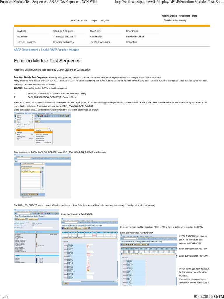 Function Module Test Sequence - ABAP Development - SCN Wiki