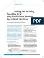 Understanding and Reducing Analytical Error— Why Good Science Requires Operational Excellence