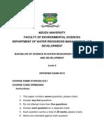 Hydraulics Differed Exam 2013