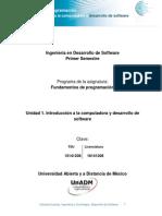 Unidad 1. Introduccion a La Computadora y Desarrollo de Software