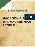 Macedonia and the Macedonian People - Blazhe Ristovski
