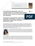 Successful haematopoietic stem celltransplantation in 44 children from healthysiblings conceived after preimplantationHLA matching