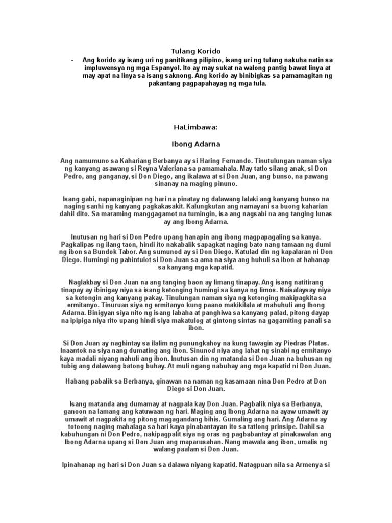 10 HALIMBAWA NG AWIT AT KORIDO - tulang-korido