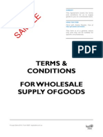 Terms and Conditions for Wholesale Supply of Goods Template Sample