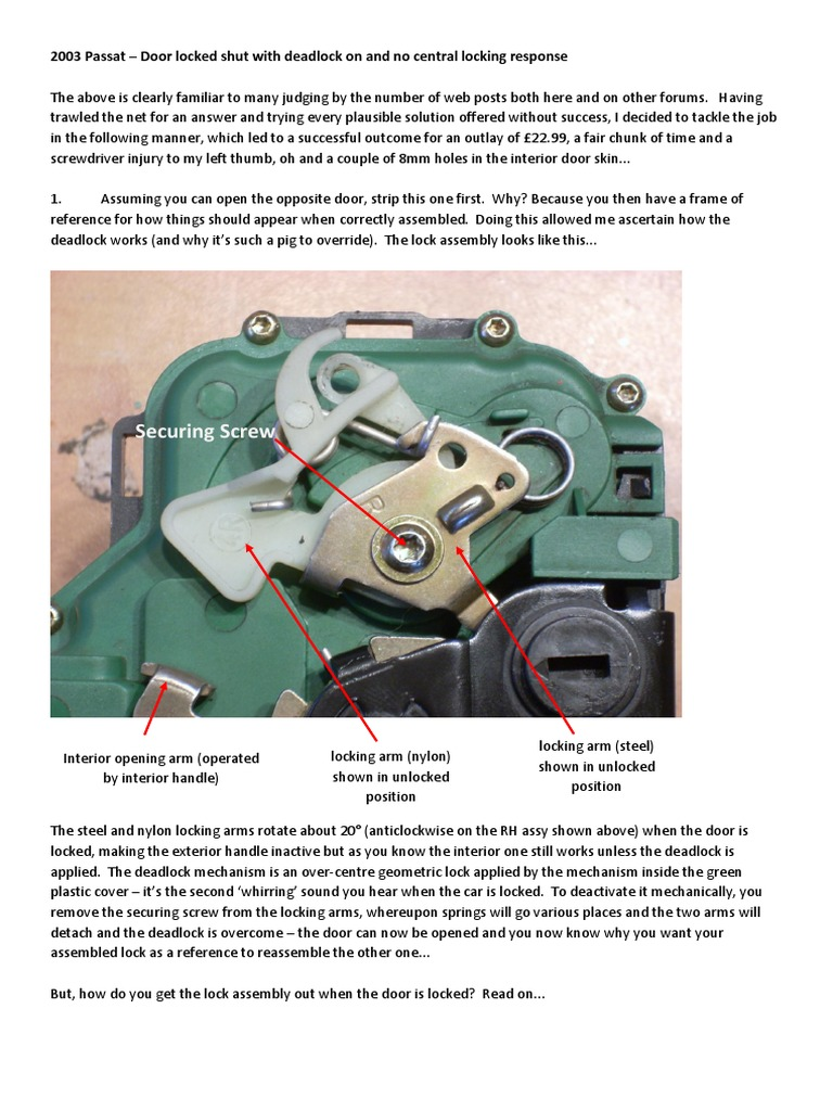 Passat Door Won't Unlock or Open | Door | Lock (Security ...