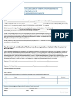 Indemnity Loss of Policy Document