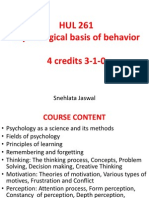 HUL 261 Psychological Basis of Behavior - Introduction to the Course