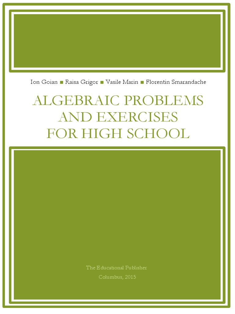 Algebraic Problems And Exercises For High School Sets Raisa Font College Navy M Operations Relations Functions Aspects Of Combinatorics Integer Function Mathematics