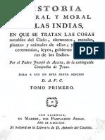 Acosta Historia Natural y Moral de las Indias