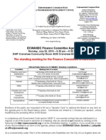 ECWANDC Finance Committee Meeting Cancellation 20 Jul 15