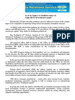 july18.2015 bCreation of an Agency to facilitate entry of foreign direct investments urged