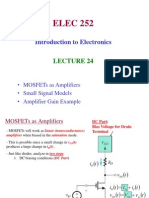 Lecture 24 - MOSFET Amplifiers, Small Signal Model, Common Source Configuration (1)