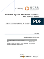 043 Women's Injuries and Return to Work – the Social Context Final Report May 2013