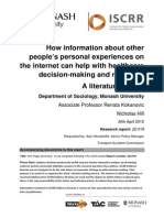 022 How information about other people's personal experiences on the internet can help with healthcare decision-making and recovery