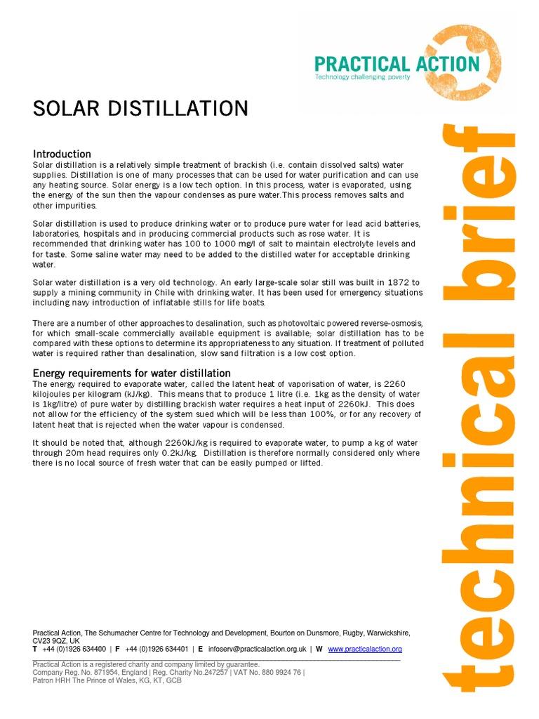 Solar Distillation   Purified Water   Water