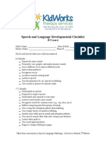 Speech and Language Developmental Checklist