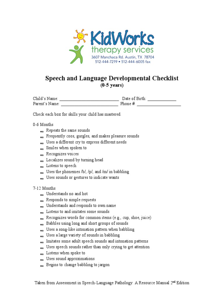 speech and language developmental checklist language development