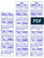 3 Year Calendar Template 2013 2014 2015 Blue