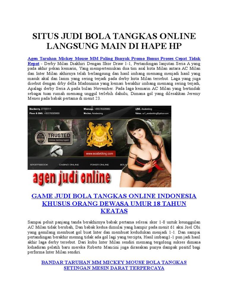 Situs Judi Bola Tangkas Online Langsung Main Di Hape Hp