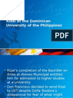 Rizal at the Dominican University of the Philippines