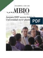 14-07-2015 Diario Matutino Cambio de Puebla - Asegura RMV Acceso Total a La Universidad en 67 Planteles